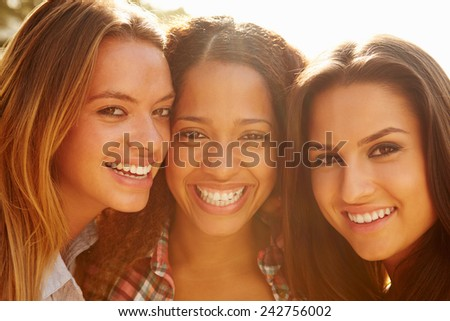 Portrait Of Three Female Friends On Holiday - stock photo