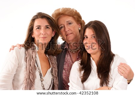 Portrait of Three generations of women of the same family isolated in white - stock photo