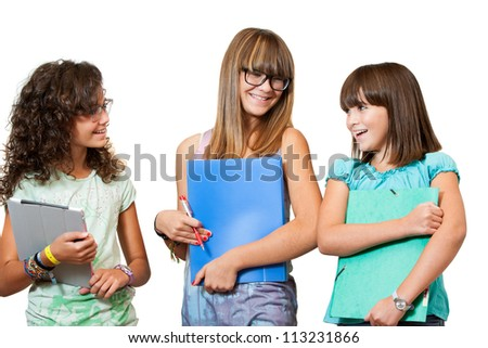 Portrait of three teenage students with notebooks and files.Isolated - stock photo