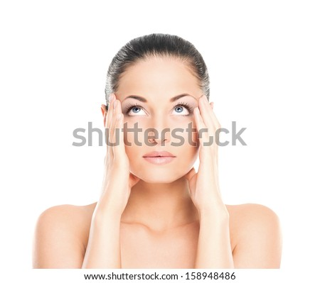 Portrait of tired and upset woman isolated on white - stock photo