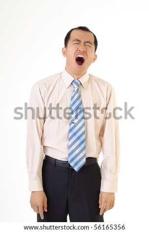 Portrait of tired business man of executive on white background. - stock photo