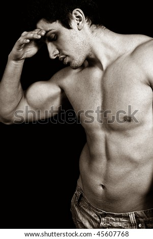 Portrait of tired sad weary male bodybuilder - stock photo
