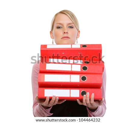 Portrait of tired woman with stack of folders - stock photo