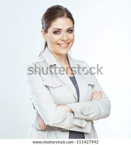 Portrait of toothy smiling business woman, isolated on white background