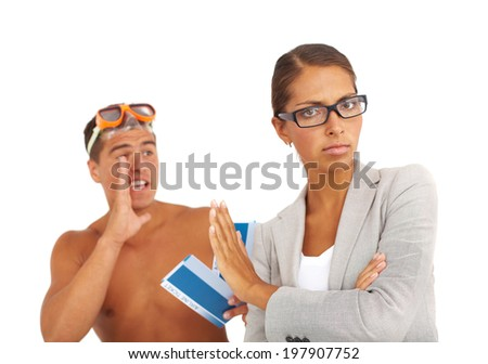 Portrait of topless guy with tickets and serious businesswoman rejecting his offer - stock photo
