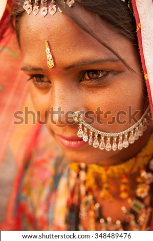 Portrait of traditional Indian Rajasthani woman, India