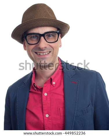 Portrait of trendy young man, isolated on white. Handsome guy with hat and eyeglasses - stock photo