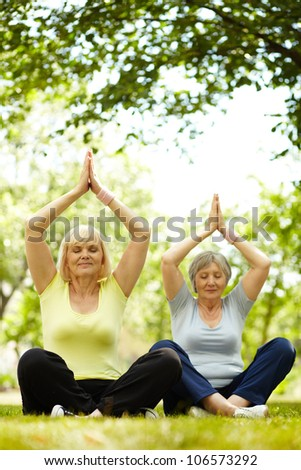 Portrait of two aged females practicing yoga in park - stock photo