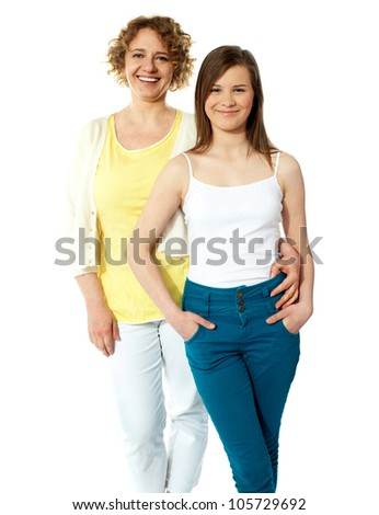 Portrait of two attractive females. Strong relationship. Mother and daughter
