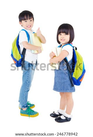 Portrait of two beautiful asian preschoolers - stock photo