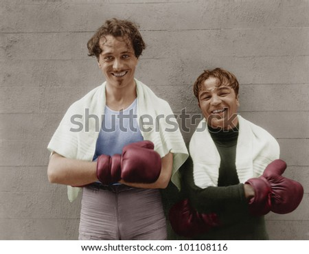 Portrait of two boxers - stock photo