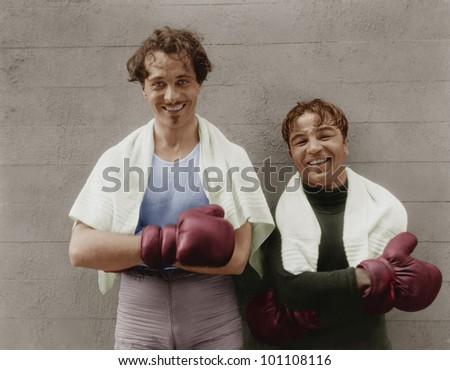 Portrait of two boxers - stock photo