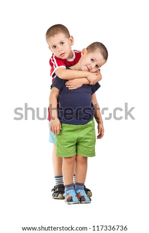 Portrait of two boys, brothers and best friends. - stock photo