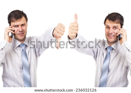 Portrait of two businesspeople with thumbs up and down isolated over white background - stock photo