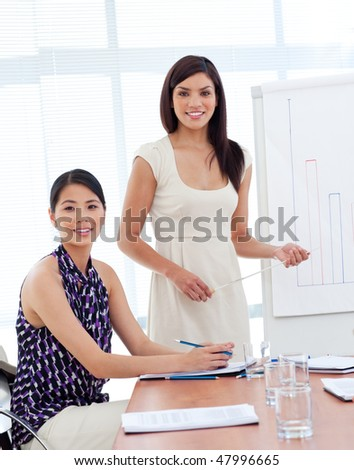 Portrait of two businesswomen at a presentation in a company