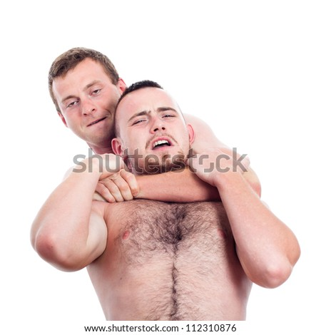 Portrait of two fighters wrestling, isolated on white background. - stock photo
