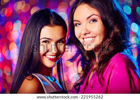 Portrait of two glamorous friends - stock photo
