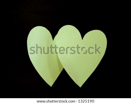 Portrait of Two Green Paper Hearts (Handcrafted) - stock photo