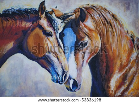 Portrait of two horses acrylic painted.Picture I have created myself.