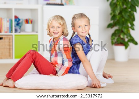 Portrait of Two Little Friends at home - stock photo