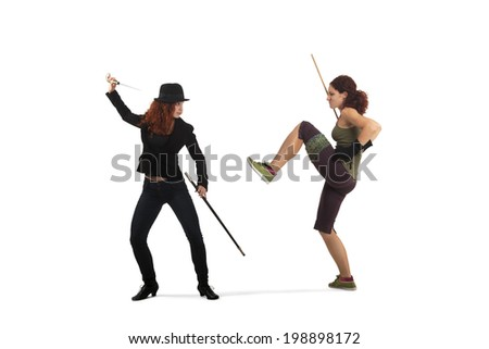 Portrait Of Two Woman Fencing - stock photo