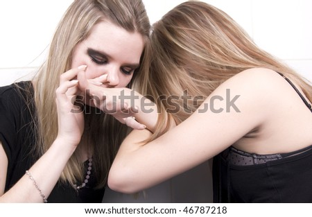 Portrait of two young addicts - stock photo