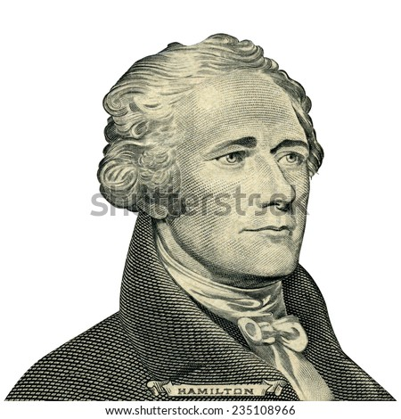 Portrait of U.S. president Alexander Hamilton as he looks on ten dollar bill obverse. Clipping path included.  - stock photo