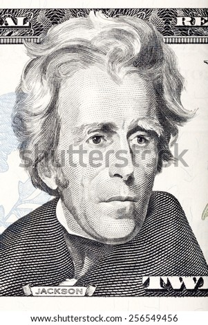 Portrait of U.S. president Andrew Jackson in front of the twenty dollar banknote.