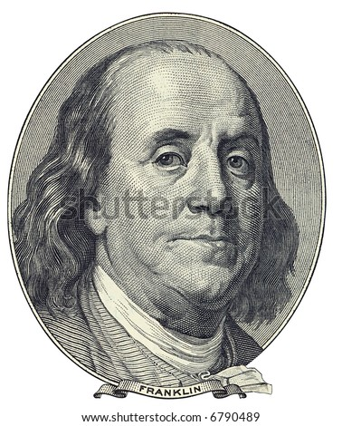 Portrait of U.S. statesman, inventor, and diplomat Benjamin Franklin as he looks on one hundred dollar bill obverse. Clipping path included. - stock photo