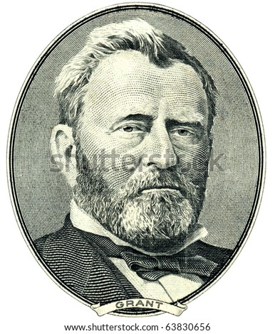 Portrait of U.S. statesman, inventor, and diplomat Ulysses S. Grant as he looks on fifty dollar bill obverse. Clipping path included.