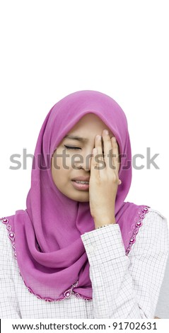 Portrait of unhappy young woman with bad headache on white background - stock photo