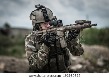 portrait of united states ranger on battle field - stock photo
