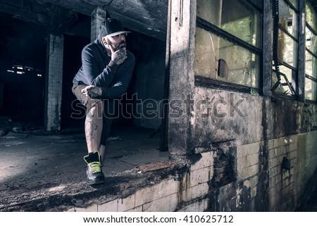Portrait of urban man,selective focus - stock photo