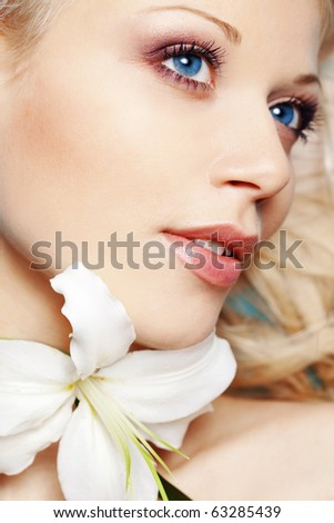 Portrait of very beautiful face close-up - stock photo