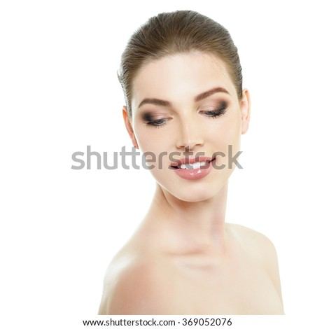 Portrait of very pretty young woman. Health care, spa, natural beauty beauty treatment, body care concept.
