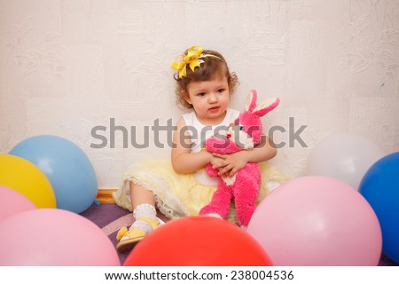 Portrait of very sweet little child - stock photo