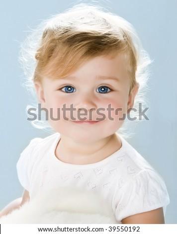Portrait of very sweet little child - stock photo