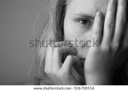 Portrait of very young depressed woman/girl(black and white)