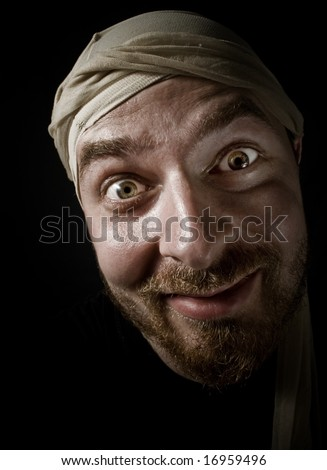 Portrait of weird funny looking guy - stock photo