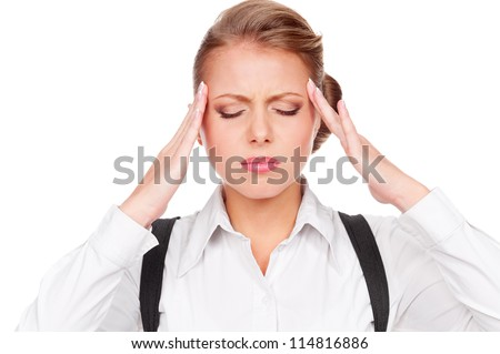 portrait of white-collar worker have a headache. isolated on white background - stock photo
