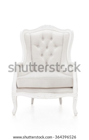 portrait of white vintage style armchair isolated on white background