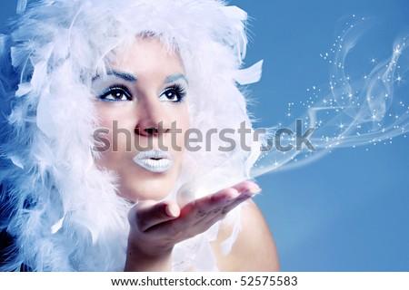 Portrait of winter queen - stock photo