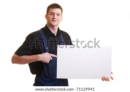 Portrait of with blank white card, isolated on white