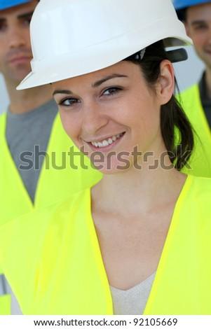 Portrait of woman construction apprentice - stock photo