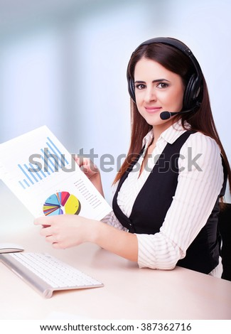 Portrait of woman customer service worker, call center smiling operator with phone headset and holding document on clipboard, isolated on white background  - stock photo
