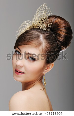 Portrait of woman face with styling  hairstyle - stock photo