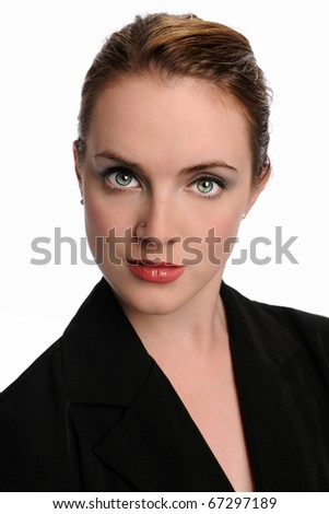 Portrait of woman in business suit isolated over white background - stock photo
