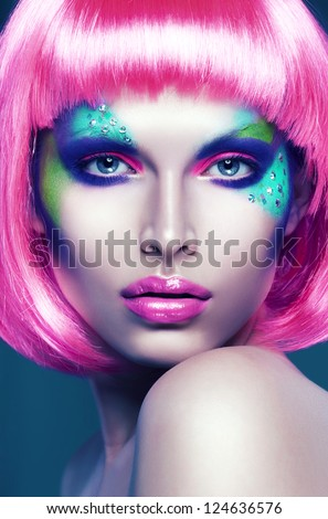portrait of woman in pink wig - stock photo