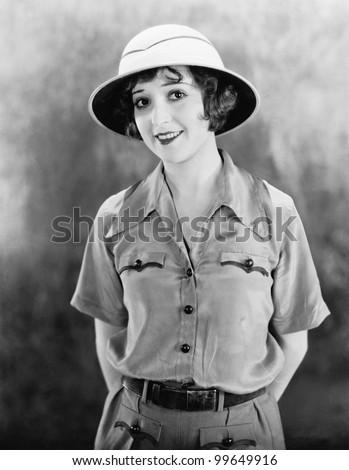 Portrait of woman in safari clothes - stock photo