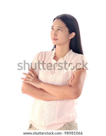 Portrait of  woman looking up into corner - stock photo